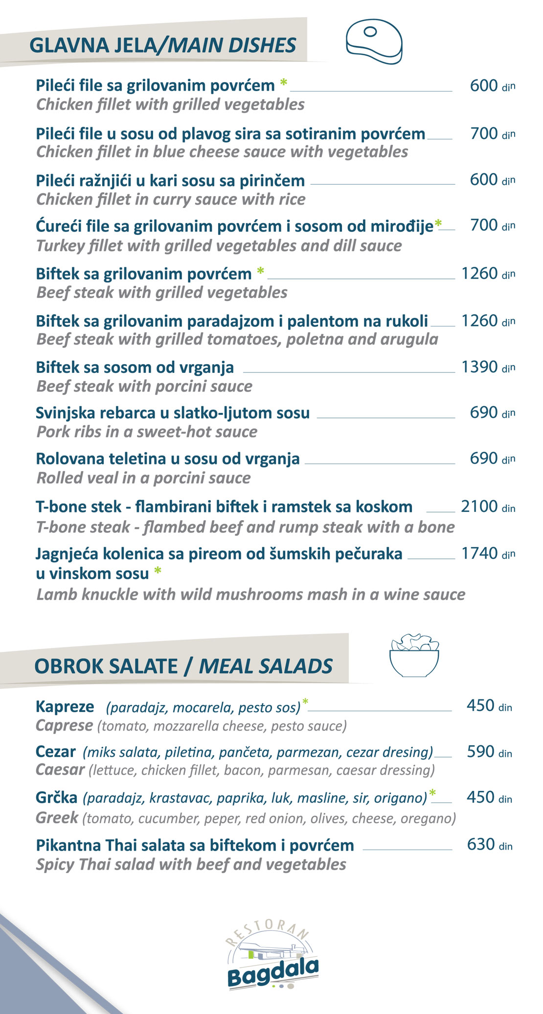 Glavna jela/Salate