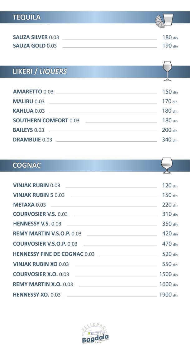 Tequila / Likeri / Cognac