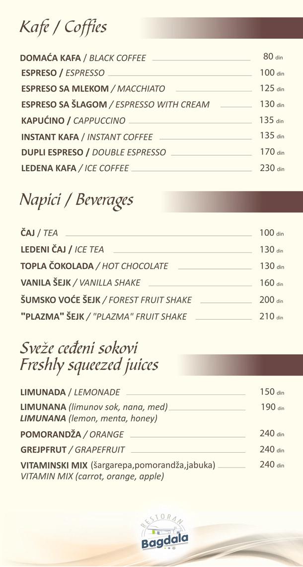 Kafa / Napici / Sveže ceđeni sokovi