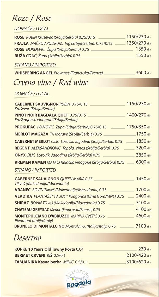 Roze / Crveno vino / Desertno
