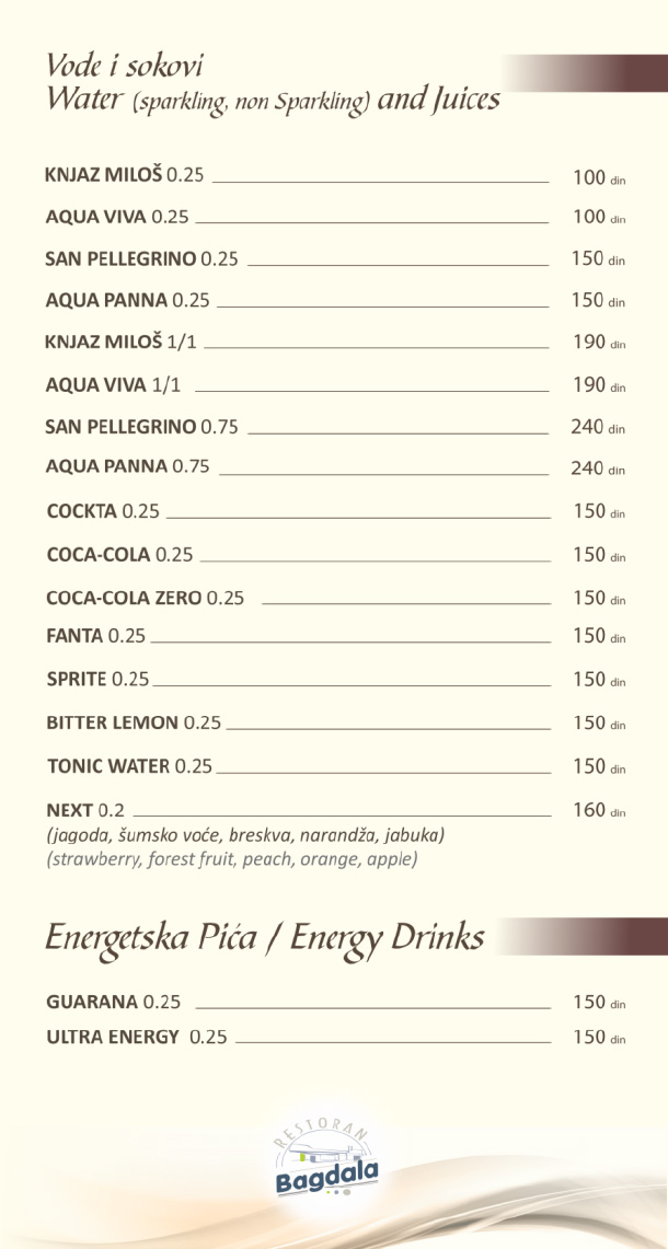 Vode i sokovi, energetska pića / Water & Juices, Energy Drinks