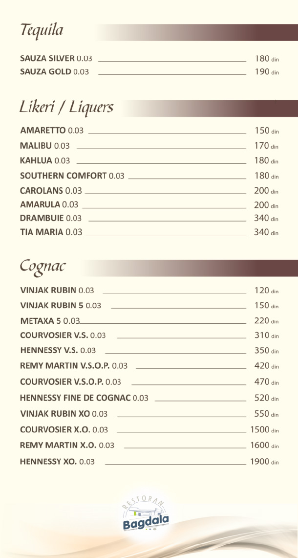 Tekila, likeri, konjak / Tequila, Liquers, Cognac