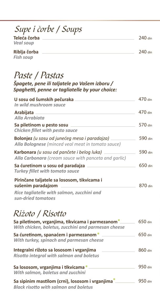 Supe i čorbe, paste, rižoto / Soups, Pastas, Risotto