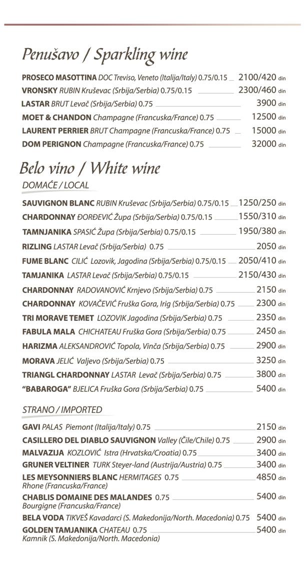 Penušavo, belo vino / Sparkling wine, white wine
