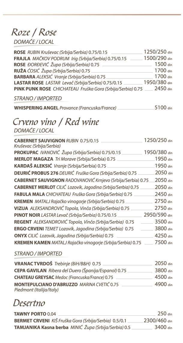 Roze, crveno vino, desertno / Rose, red wine, dessert wine